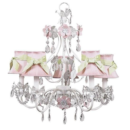 Chandelier - 5-Arm - Flower Garden - Pink & White w/ Chandelier Shade - Plain - Pink w/sash-Chandeliers-Default-Jack and Jill Boutique