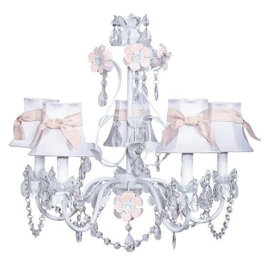 Chandelier - 5-Arm - Flower Garden - Pink & White w/ Chandelier Shade - Plain - White with Pink Sashes-Chandeliers-Default-Jack and Jill Boutique