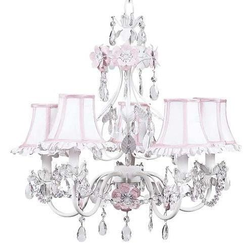 Chandelier - 5-Arm - Flower Garden - Pink & White w/ Chandelier Shade - Ruffled Edge - White/Pink-Chandeliers-Default-Jack and Jill Boutique