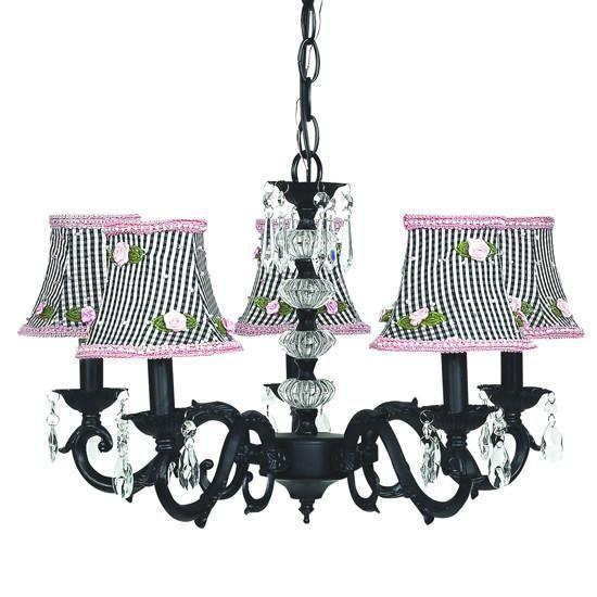 Chandelier - 5-arm - Glass Turret - Black w/ Chandelier Shade - Black Check w/Pink Rosebud-Chandeliers-Default-Jack and Jill Boutique