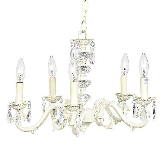 Chandelier - 5-arm - Glass Turret - Ivory-Chandeliers-Default-Jack and Jill Boutique