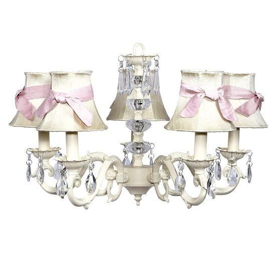 Chandelier - 5-arm - Glass Turret - Ivory w/ Chandelier Shade - Plain - Ivory with Pink Sashes-Chandeliers-Default-Jack and Jill Boutique