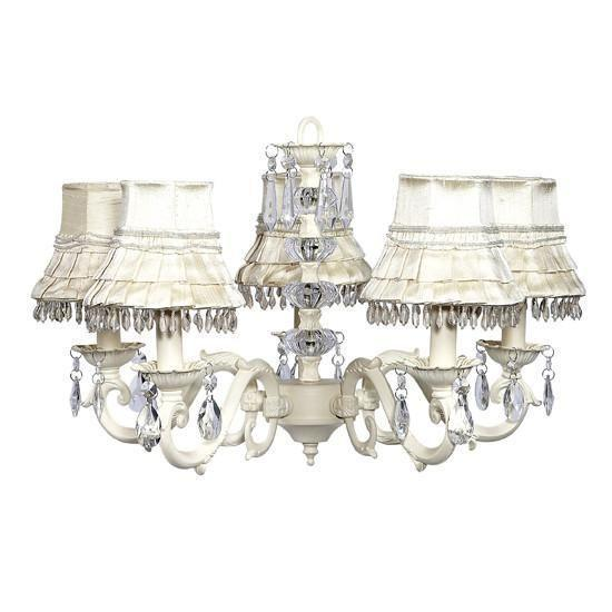 Chandelier - 5-arm - Glass Turret - Ivory w/ Chandelier Shade - Skirt Dangle - Ivory-Chandeliers-Default-Jack and Jill Boutique
