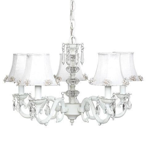 Chandelier - 5-arm - Glass Turret - White w/ Chandelier Shade - Pearl Burst - White-Chandeliers-Default-Jack and Jill Boutique