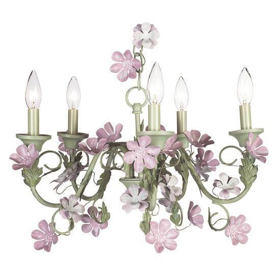 Chandelier - 5-arm - Leaf & Flower - Pink & Green