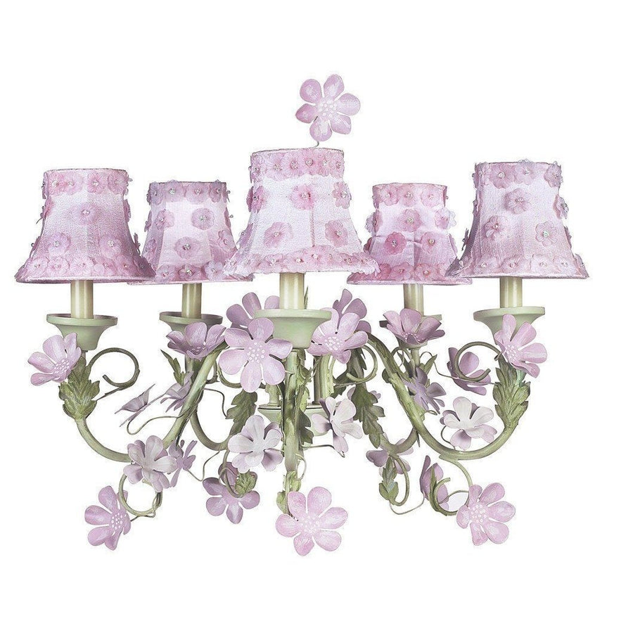 Chandelier - 5-arm - Leaf & Flower - Pink & Green w/ Chandelier Shade - Petal Flower - Pink-Chandeliers-Default-Jack and Jill Boutique