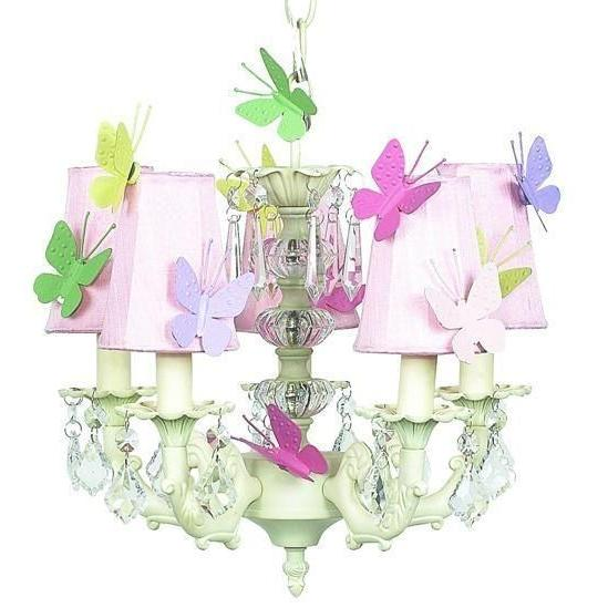 Chandelier - 5-arm Stacked Glass Ball - Ivory w/ Sconce Shade - Plain - Pink w/magnets-Chandeliers-Default-Jack and Jill Boutique