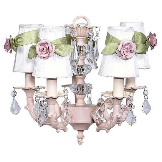 Chandelier - 5-arm Stacked Glass Ball - Pink w/Sconce Shade - Plain - White w/ green sashes and small light pink rose magnets-Chandeliers-Default-Jack and Jill Boutique