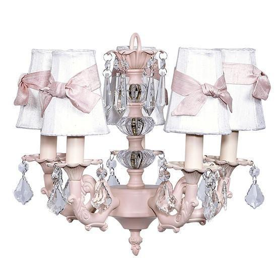 Chandelier - 5-arm Stacked Glass Ball - Pink w/Sconce Shade - Plain - White with pink sashes-Chandeliers-Default-Jack and Jill Boutique
