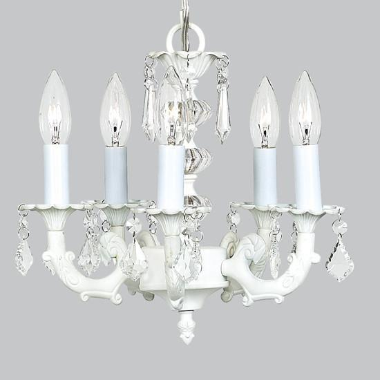 Chandelier - 5-arm Stacked Glass Ball - White-Chandeliers-Default-Jack and Jill Boutique