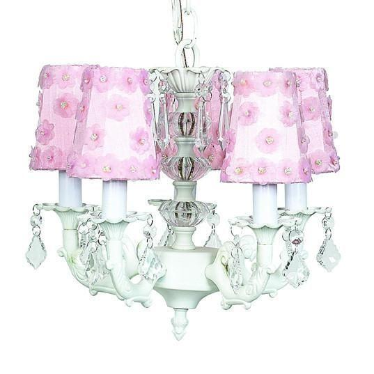 Chandelier - 5-arm Stacked Glass Ball - White w/ Sconce Shade - Petal Flower - Pink-Chandeliers-Default-Jack and Jill Boutique