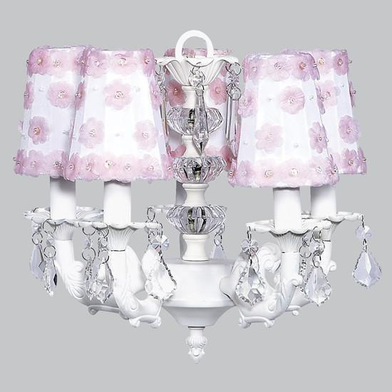 Chandelier - 5-arm Stacked Glass Ball - White w/ Sconce Shade - Petal Flower - White/Pink-Chandeliers-Default-Jack and Jill Boutique