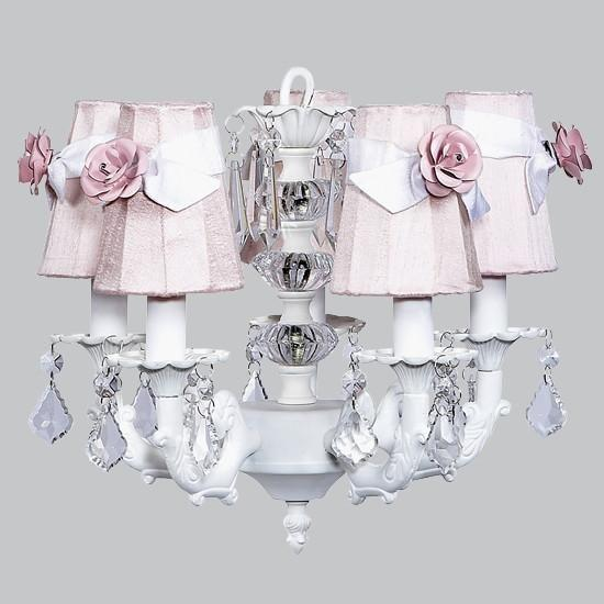 Chandelier - 5-arm Stacked Glass Ball - White w/ Sconce Shade - Plain - Pink w/ white sashes and light pink rose magnets-Chandeliers-Default-Jack and Jill Boutique