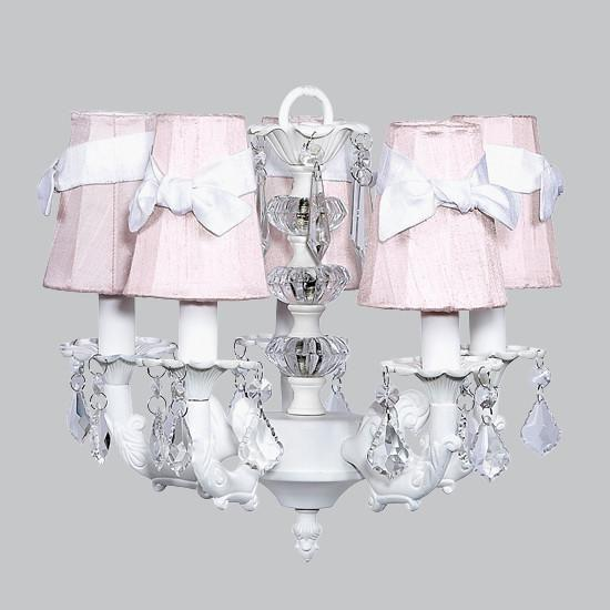 Chandelier - 5-arm Stacked Glass Ball - White w/ Sconce Shade - Plain - Pink with white sashes-Chandeliers-Default-Jack and Jill Boutique