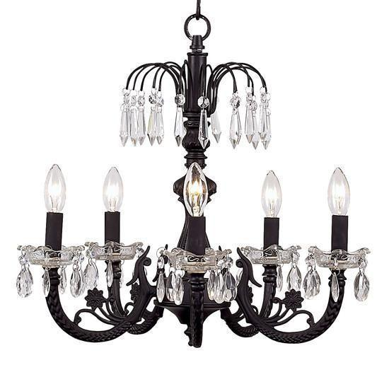Chandelier - 5-arm Water Fall - Black-Chandeliers-Default-Jack and Jill Boutique