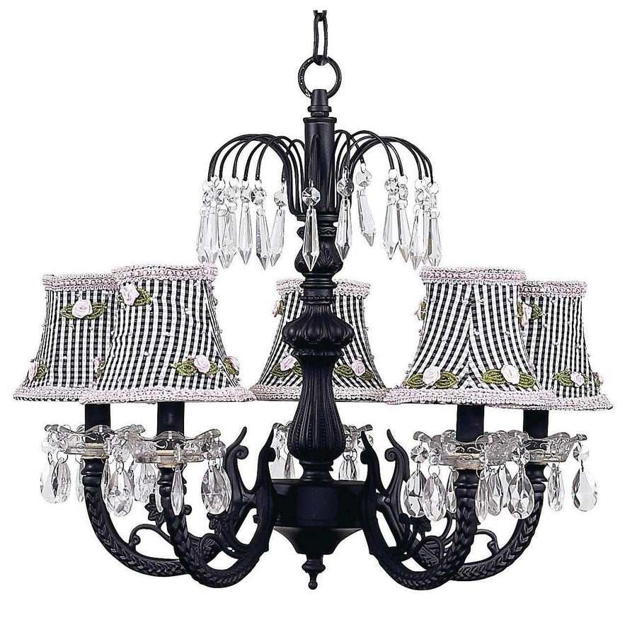 Chandelier - 5-arm Water Fall - Black w/ Chandelier Shade - Black Check w/Pink Rosebud-Chandeliers-Default-Jack and Jill Boutique