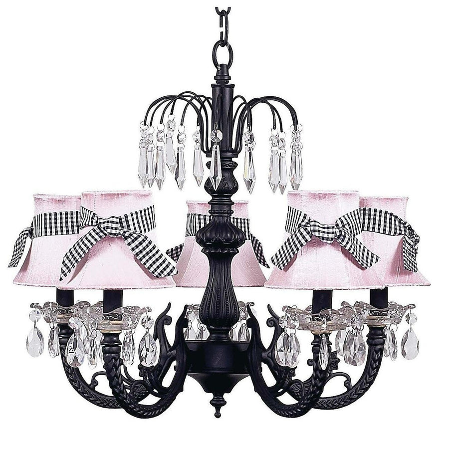 Chandelier - 5-arm Water Fall - Black w/ Chandelier Shade - Plain - Pink w/sash-Chandeliers-Default-Jack and Jill Boutique