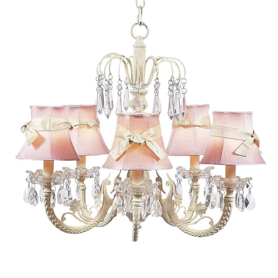 Chandelier - 5-arm Water Fall - Ivory w/ Chandelier Shade - Plain - Pink w/sash-Chandeliers-Default-Jack and Jill Boutique