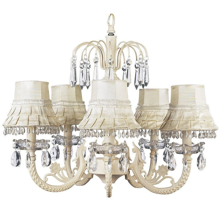 Chandelier - 5-arm Water Fall - Ivory w/ Chandelier Shade - Skirt Dangle - Ivory-Chandeliers-Default-Jack and Jill Boutique