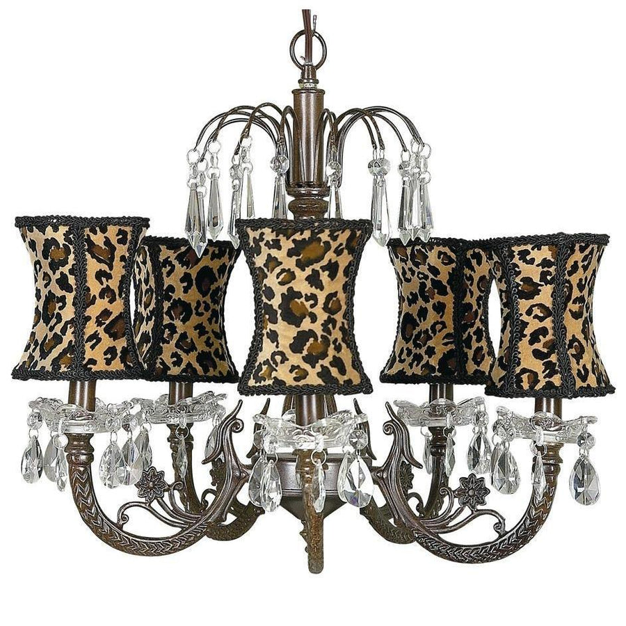 Chandelier - 5-arm Water Fall - Mocha w/ Chandelier Shade - Hourglass - Leopard-Chandeliers-Default-Jack and Jill Boutique