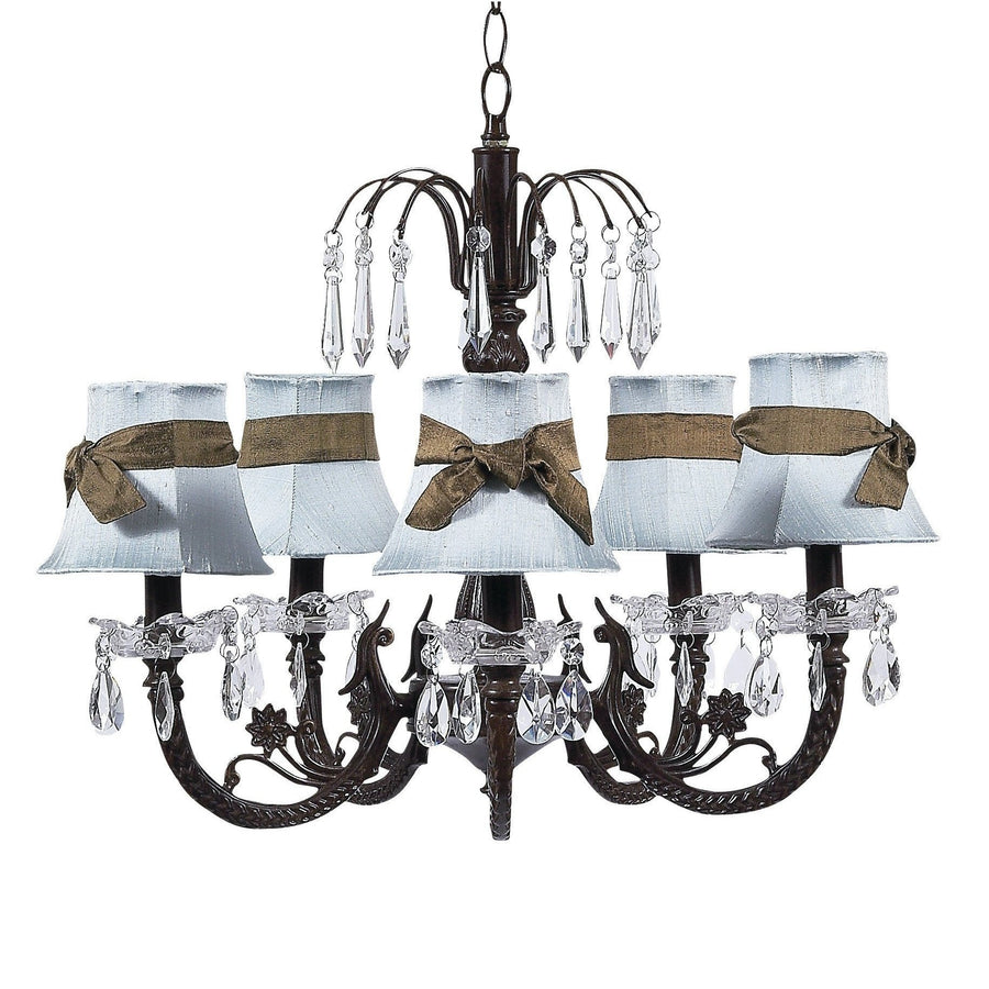 Chandelier - 5-arm Water Fall - Mocha w/ Chandelier Shade - Plain - Blue w/sash-Chandeliers-Default-Jack and Jill Boutique