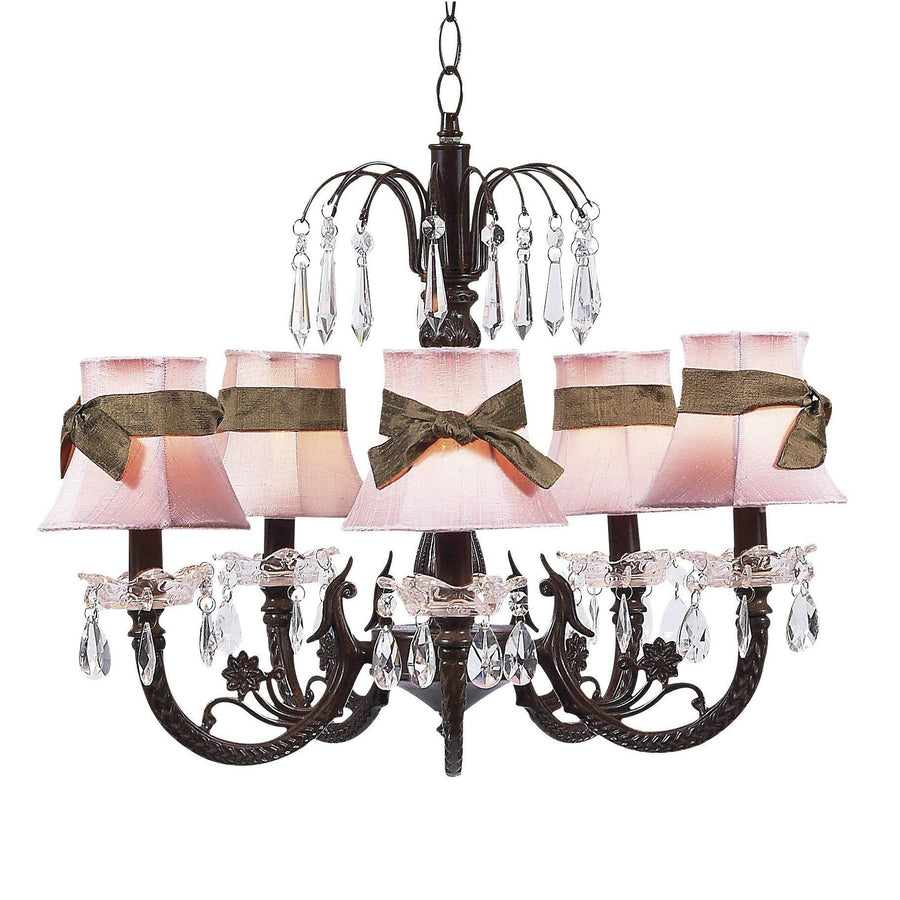 Chandelier - 5-arm Water Fall - Mocha w/ Chandelier Shade - Plain - Pink w/sash-Chandeliers-Default-Jack and Jill Boutique