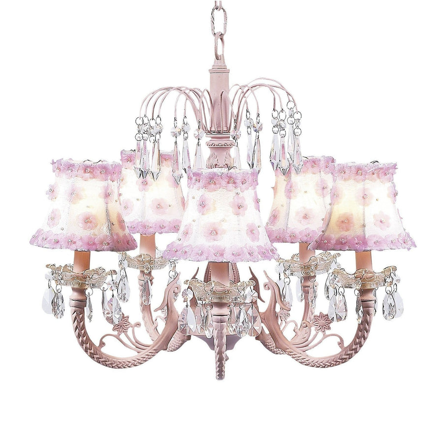 Chandelier - 5-arm Water Fall - Pink w/ Chandelier Shade - Petal Flower - White/Pink-Chandeliers-Default-Jack and Jill Boutique