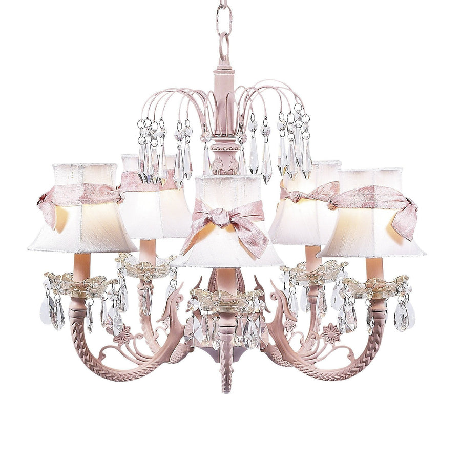 Chandelier - 5-arm Water Fall - Pink w/ Chandelier Shade - Plain - White w/ Chandelier Shade - Plain - White w/sash-Chandeliers-Default-Jack and Jill Boutique