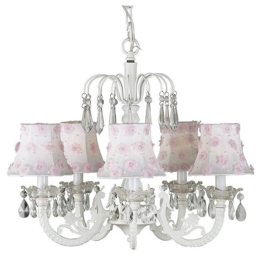 Chandelier - 5-arm Water Fall - White w/ Chandelier Shade - Petal Flower - White/Pink-Chandeliers-Default-Jack and Jill Boutique