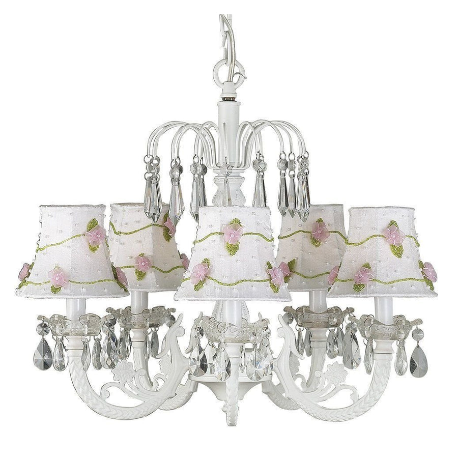 Chandelier - 5-arm Water Fall - White w/ Chandelier Shade - Pink Net Flower - White-Chandeliers-Default-Jack and Jill Boutique