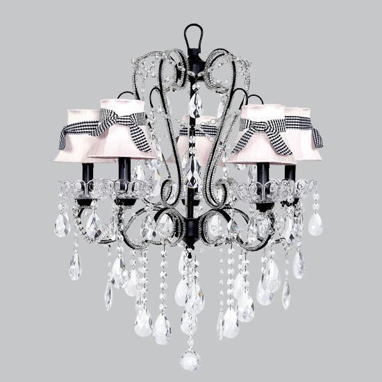 Chandelier - 5 Light - Carousel - Black w/ Chandelier Shade - Plain - Pink and Black Check Sashes-Chandeliers-Default-Jack and Jill Boutique