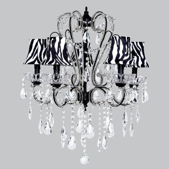 Chandelier - 5 Light - Carousel - Black w/ Chandelier Shade - Zebra Bell-Chandeliers-Default-Jack and Jill Boutique