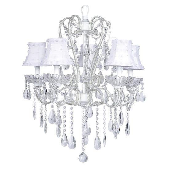 Chandelier - 5 Light - Carousel - White w/ Chandelier Shade - Petal Flower -White-Chandeliers-Default-Jack and Jill Boutique