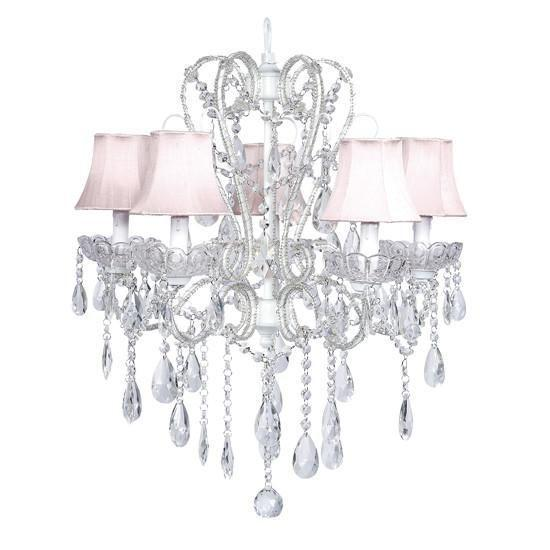Chandelier - 5 Light - Carousel - White w/ Chandelier Shade - Plain - Pink-Chandeliers-Default-Jack and Jill Boutique