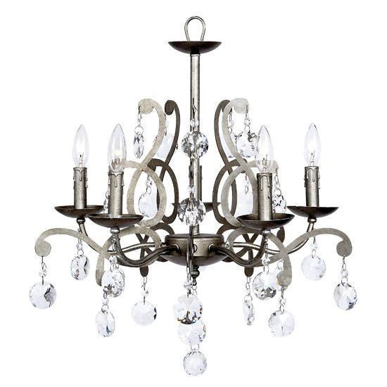Chandelier - 5 Light - Elegance - Antique Grey with Custom Crystals-Chandeliers-Default-Jack and Jill Boutique