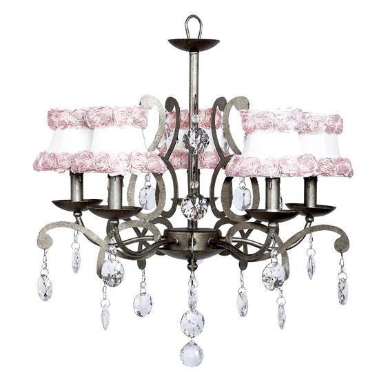Chandelier - 5 Light - Elegance - Antique Grey with Custom Crystals w/ Chandelier Shade - Ring of Roses on white-Chandeliers-Default-Jack and Jill Boutique