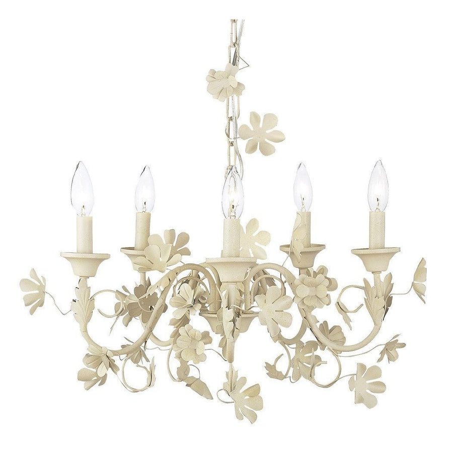 Chandelier - 5 Light - Ivory Flower Garden