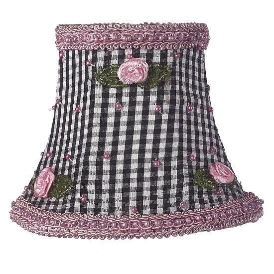 Chandelier Shade - Black Check w/Pink Rosebud-Chandelier Shades-Default-Jack and Jill Boutique