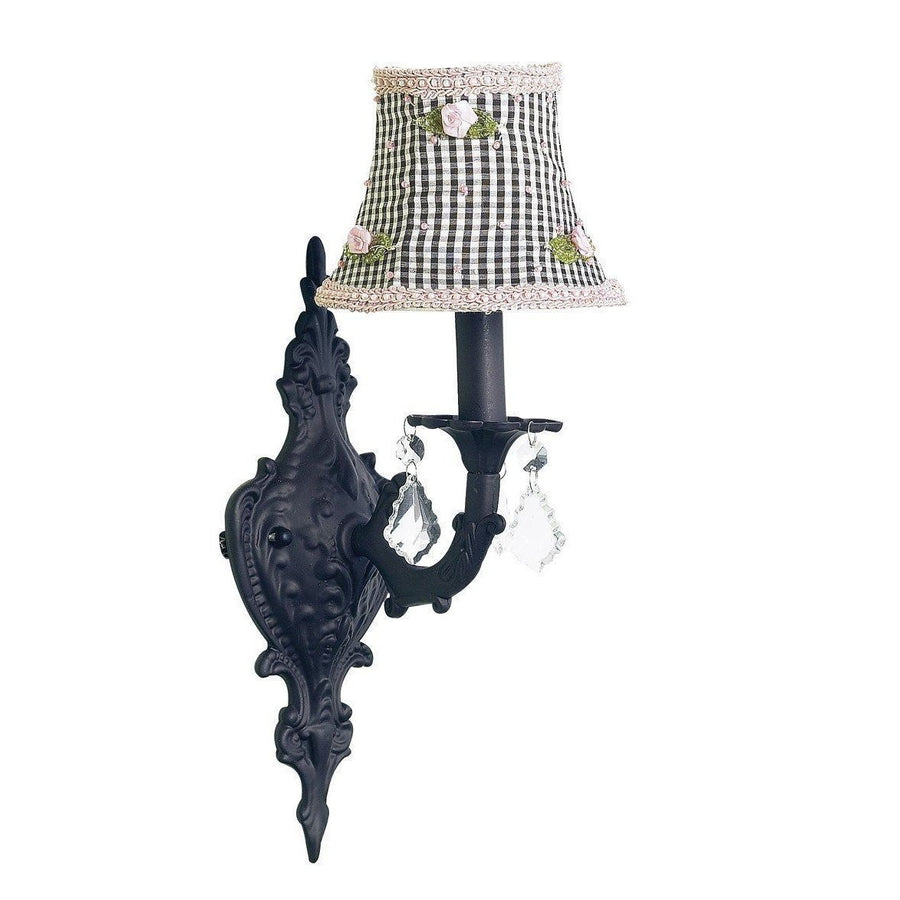 Black Scroll Wall Sconce with Black Check & Pink Rosebud Shade-Wall Sconce-Default-Jack and Jill Boutique