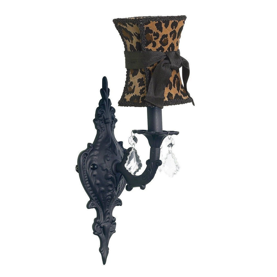Chandelier Shade - Hourglass - Leopard w/sash on Wall sconce - 1-arm - Scroll - Black-Wall Sconce-Default-Jack and Jill Boutique