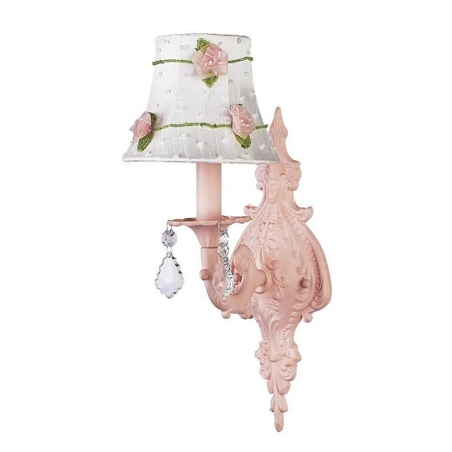 Chandelier Shade - Pink Net Flower - White on Wall sconce - 1-arm - Scroll - Pink