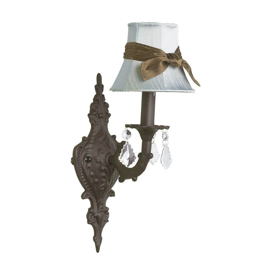Chandelier Shade - Plain - Blue w/sash on Wall sconce - 1-arm - Scroll - Mocha