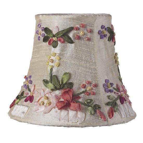 Chandelier Shade - Ribbon Embroidery - Ivory