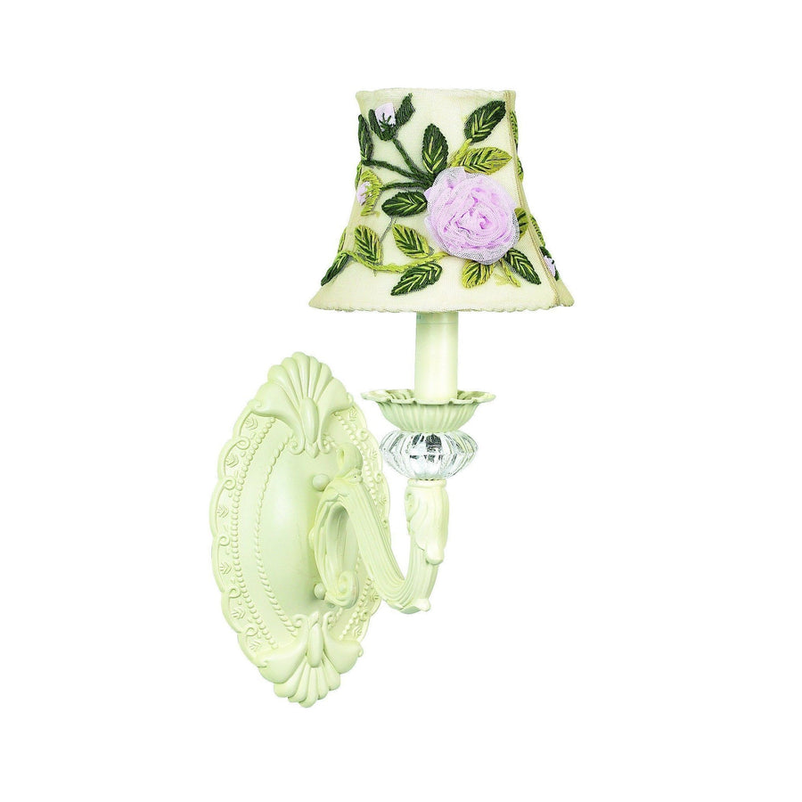 Chandelier Shade - Rose Net Flower - Ivory on Wall sconce - 1-arm - Turret - Ivory-Wall Sconce-Default-Jack and Jill Boutique