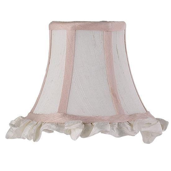Chandelier Shade - Ruffled Edge - White/Pink
