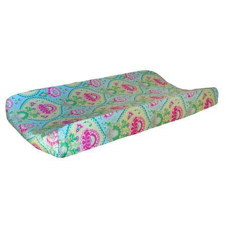 Changing Pad Cover | Aqua & Pink Floral Layla Rose-Changing Pad Cover-Default-Jack and Jill Boutique