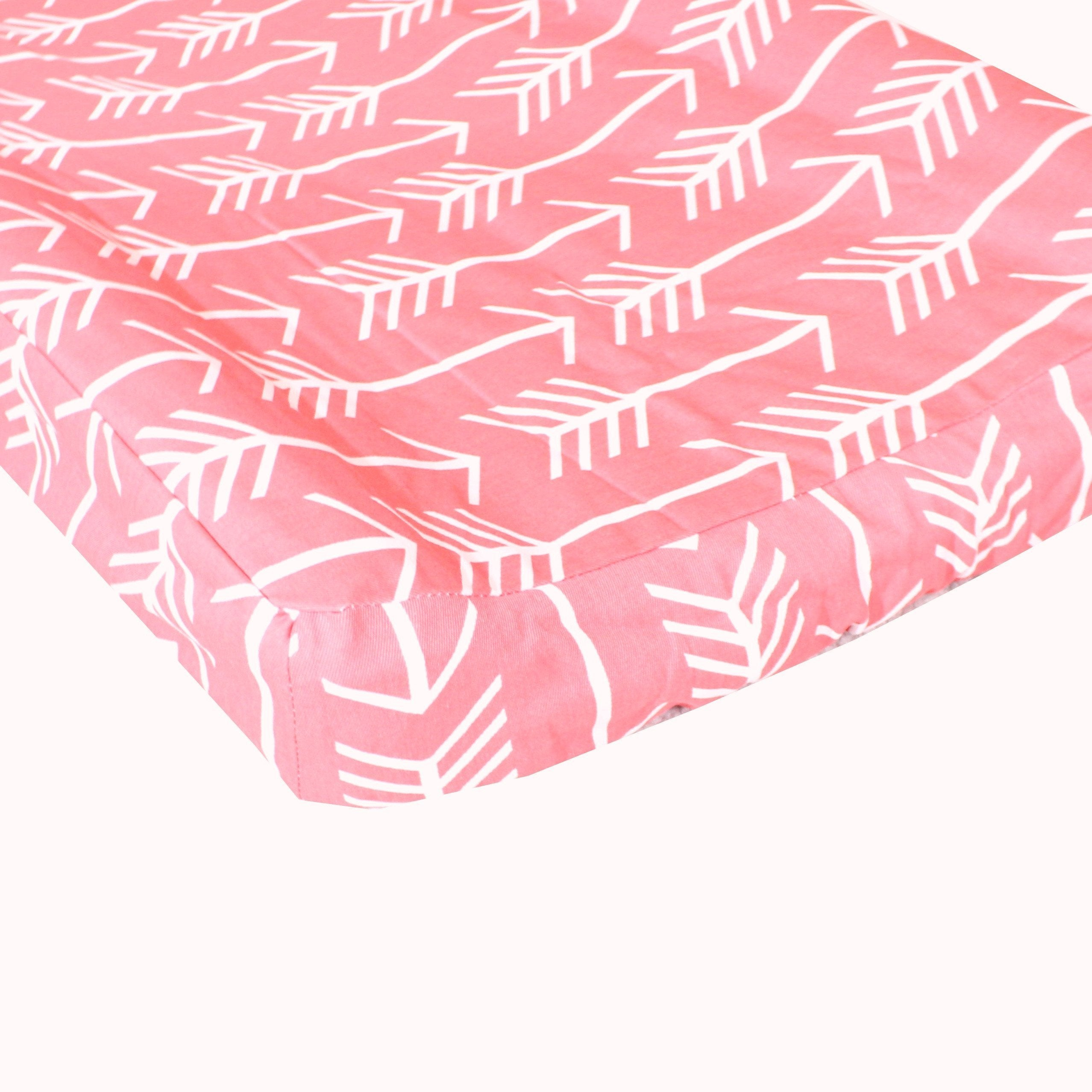 changing pad cover arrows in coral and white jack and jill boutique. Black Bedroom Furniture Sets. Home Design Ideas