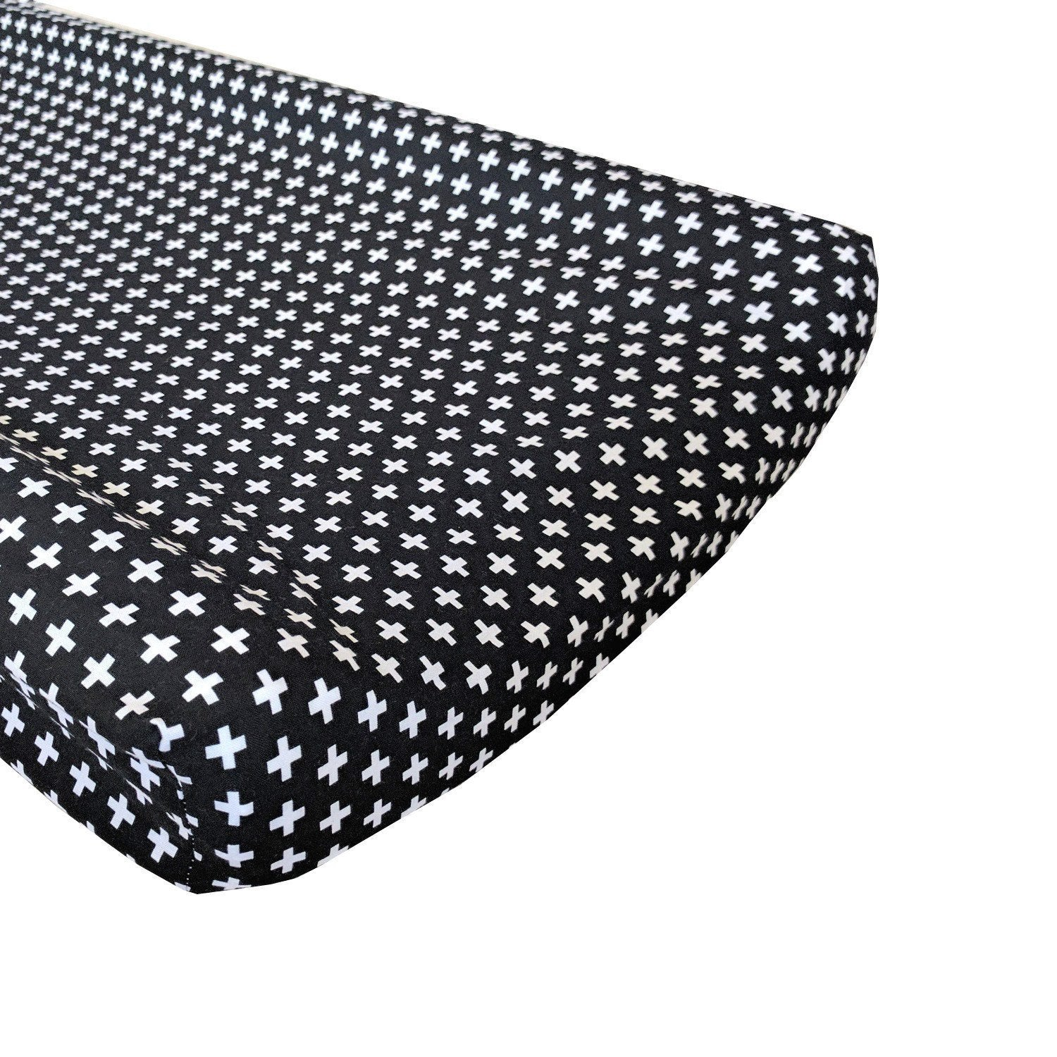 Changing Pad Cover | Black Swiss Cross Black and White-Changing Pad Cover-Default-Jack and Jill Boutique