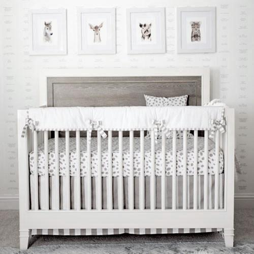 Crib Skirt | Gray Stripe - Dalmatian Spots Bedding-Crib Skirt-Jack and Jill Boutique