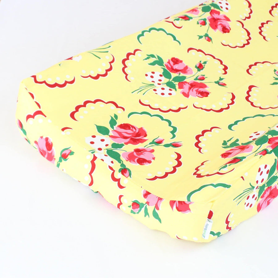 Changing Pad Cover: Emma's Yellow and Pink Floral | Bold Bedding